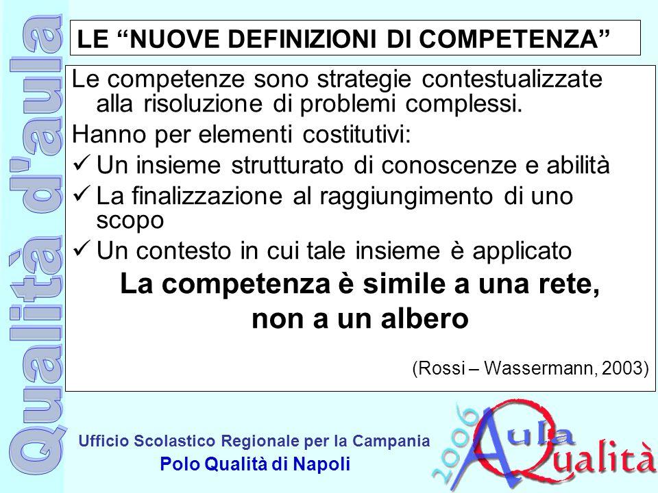 """Ufficio Scolastico Regionale per la Campania Polo Qualità di Napoli LE """"NUOVE DEFINIZIONI DI COMPETENZA"""" Le competenze sono strategie contestualizzate"""
