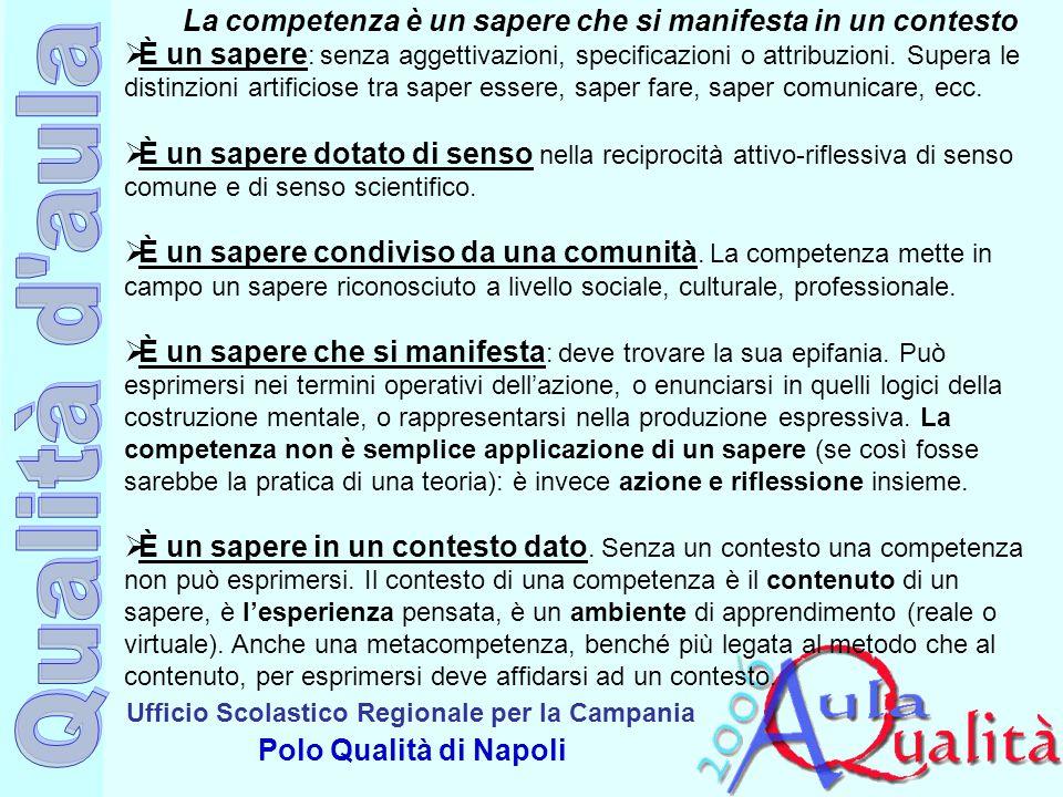 Ufficio Scolastico Regionale per la Campania Polo Qualità di Napoli La competenza è un sapere che si manifesta in un contesto  È un sapere : senza ag