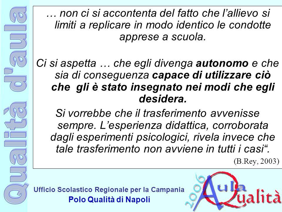 Ufficio Scolastico Regionale per la Campania Polo Qualità di Napoli … non ci si accontenta del fatto che l'allievo si limiti a replicare in modo ident