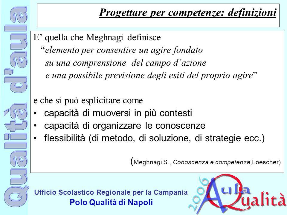 """Ufficio Scolastico Regionale per la Campania Polo Qualità di Napoli Progettare per competenze: definizioni E' quella che Meghnagi definisce """"elemento"""