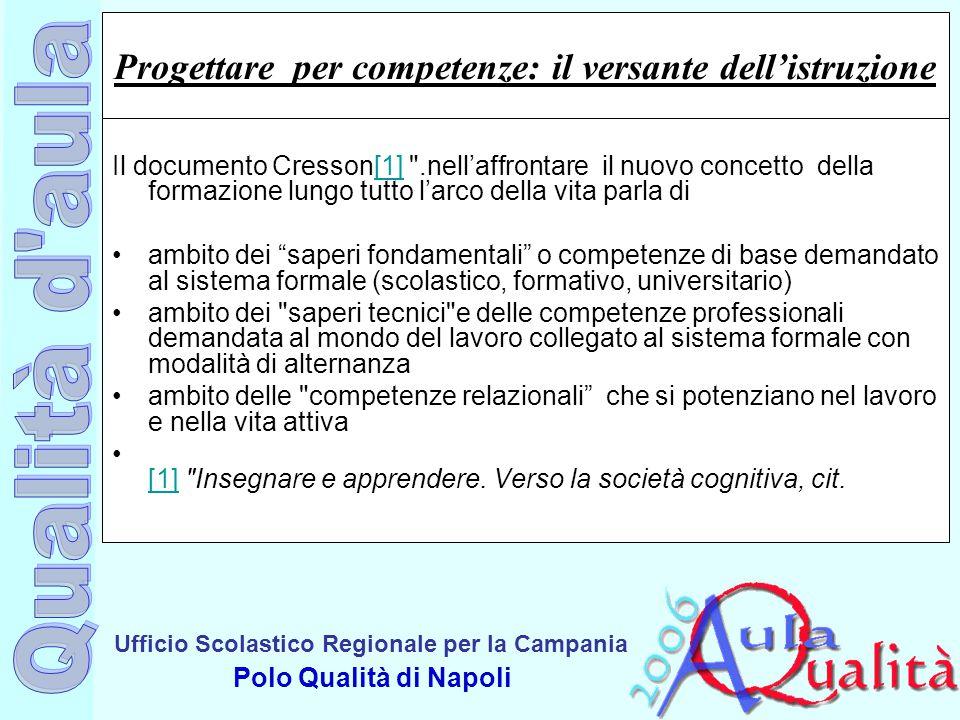 Ufficio Scolastico Regionale per la Campania Polo Qualità di Napoli Progettare per competenze: il versante dell'istruzione Il documento Cresson[1]