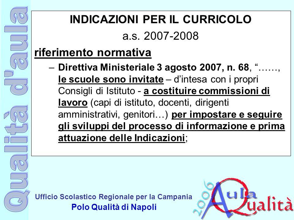 Ufficio Scolastico Regionale per la Campania Polo Qualità di Napoli INDICAZIONI PER IL CURRICOLO a.s. 2007-2008 riferimento normativa –Direttiva Minis
