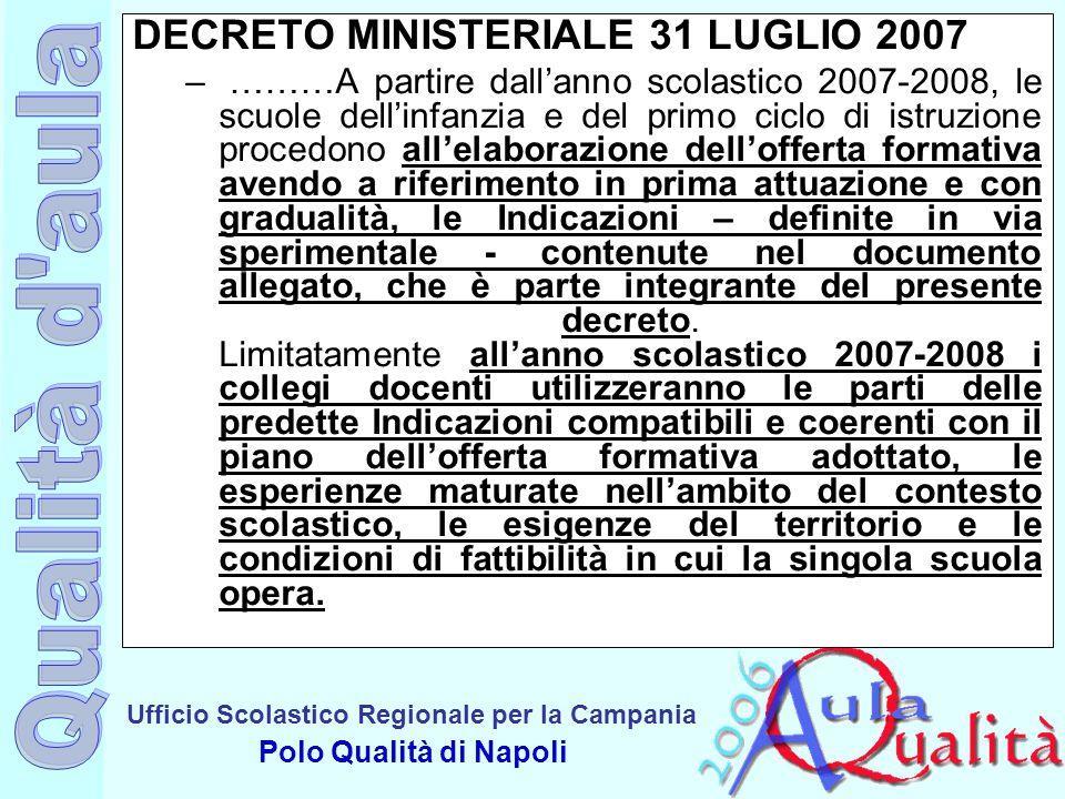 Ufficio Scolastico Regionale per la Campania Polo Qualità di Napoli DECRETO MINISTERIALE 31 LUGLIO 2007 – ………A partire dall'anno scolastico 2007-2008,