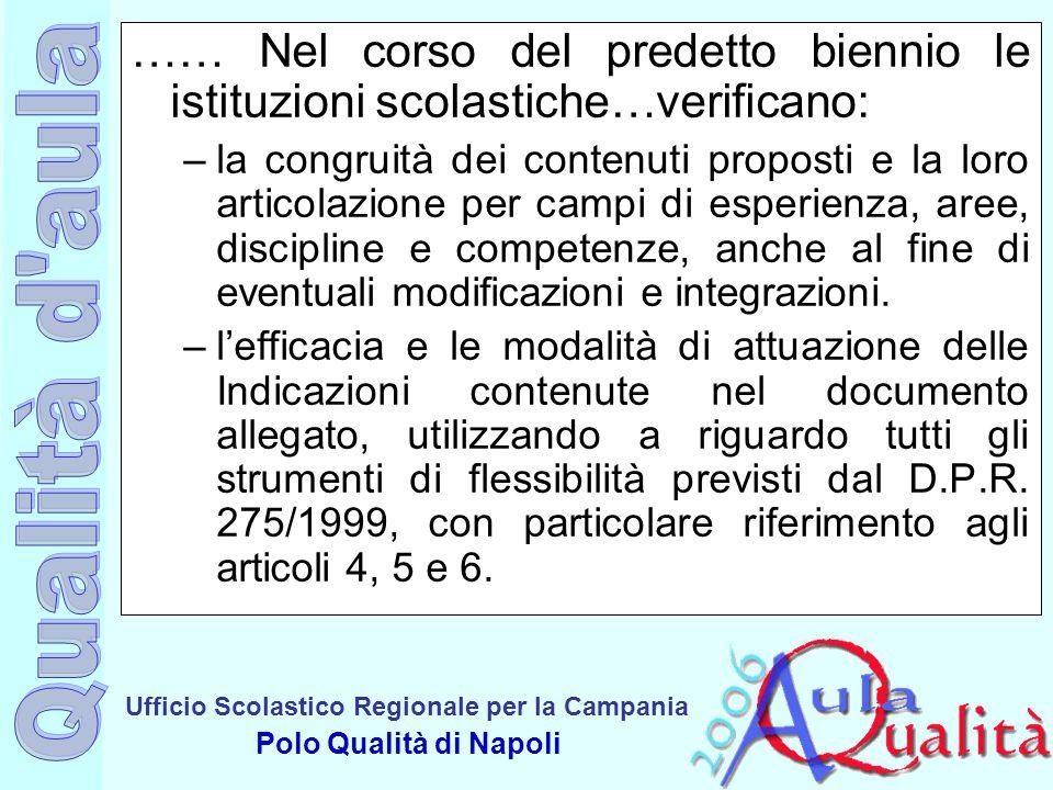 Ufficio Scolastico Regionale per la Campania Polo Qualità di Napoli …… Nel corso del predetto biennio le istituzioni scolastiche…verificano: –la congr