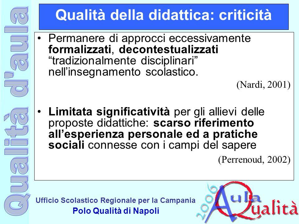 Ufficio Scolastico Regionale per la Campania Polo Qualità di Napoli Qualità della didattica: criticità Permanere di approcci eccessivamente formalizza