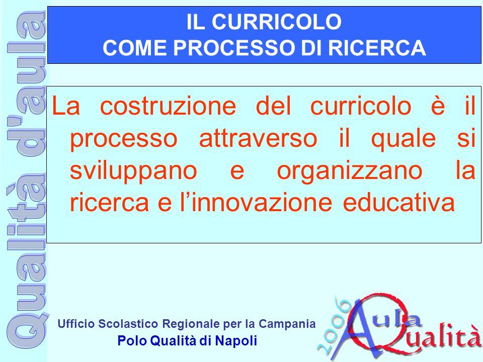 Ufficio Scolastico Regionale per la Campania Polo Qualità di Napoli IL CURRICOLO COME PROCESSO DI RICERCA La costruzione del curricolo è il processo a