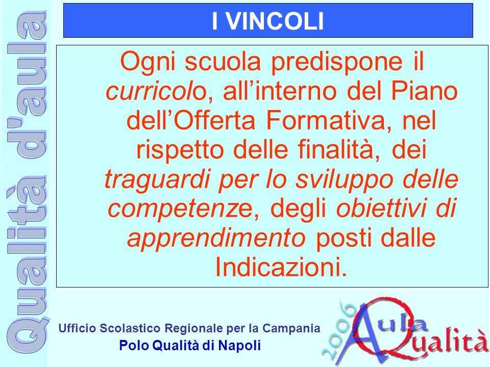 Ufficio Scolastico Regionale per la Campania Polo Qualità di Napoli I VINCOLI Ogni scuola predispone il curricolo, all'interno del Piano dell'Offerta