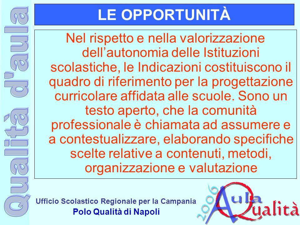 Ufficio Scolastico Regionale per la Campania Polo Qualità di Napoli LE OPPORTUNITÀ Nel rispetto e nella valorizzazione dell'autonomia delle Istituzion