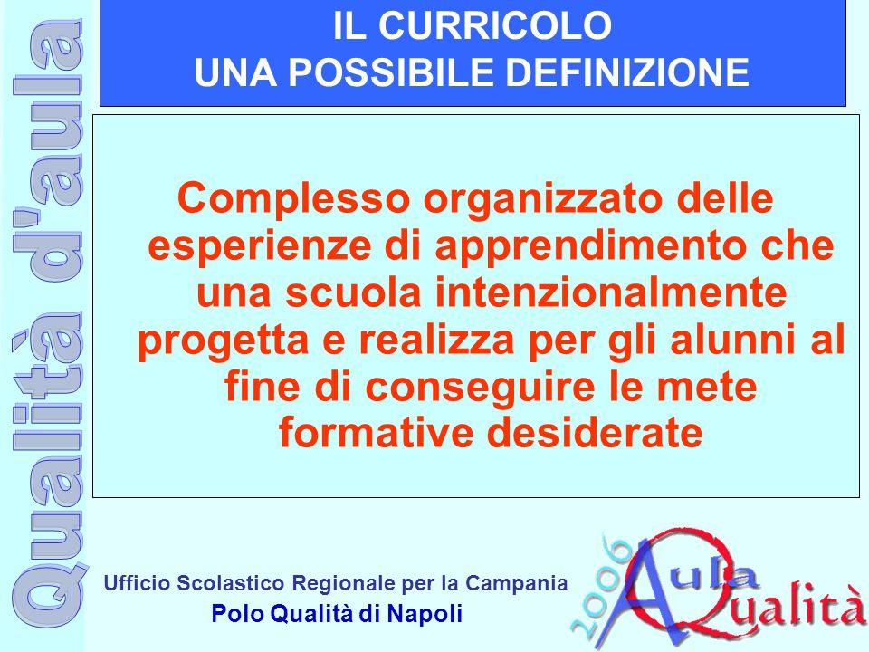 Ufficio Scolastico Regionale per la Campania Polo Qualità di Napoli IL CURRICOLO UNA POSSIBILE DEFINIZIONE Complesso organizzato delle esperienze di a