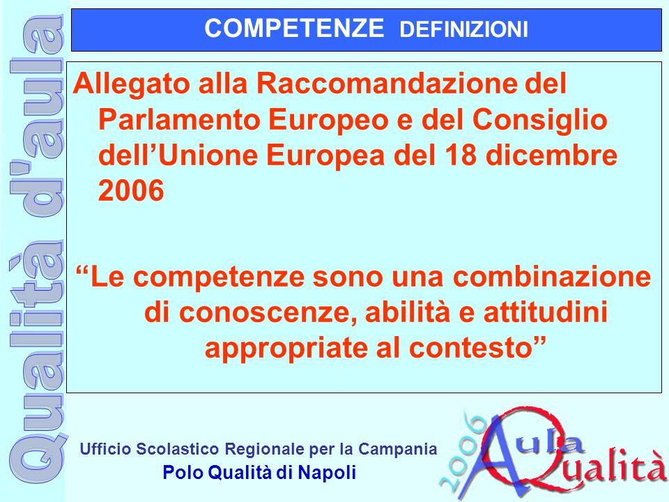 Ufficio Scolastico Regionale per la Campania Polo Qualità di Napoli COMPETENZE DEFINIZIONI Allegato alla Raccomandazione del Parlamento Europeo e del