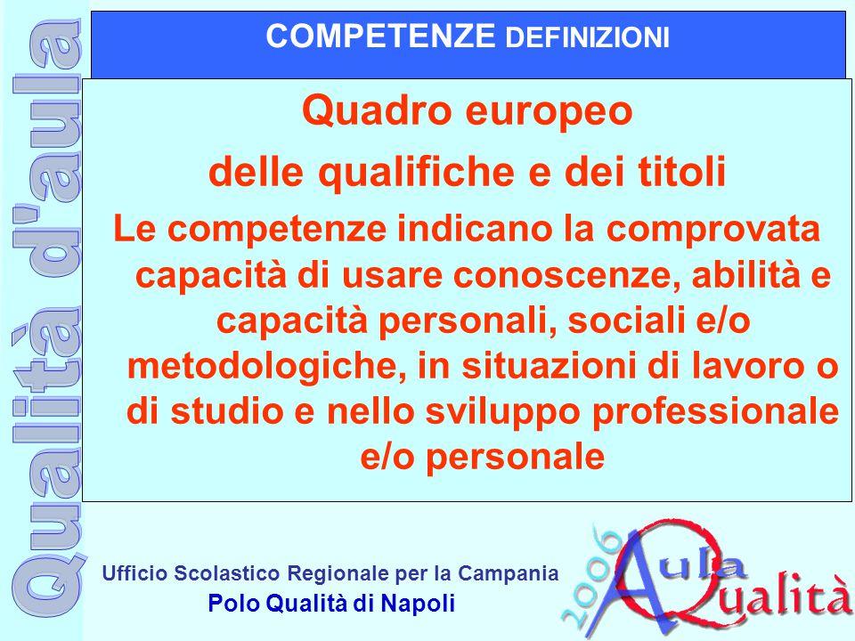 Ufficio Scolastico Regionale per la Campania Polo Qualità di Napoli COMPETENZE DEFINIZIONI Quadro europeo delle qualifiche e dei titoli Le competenze
