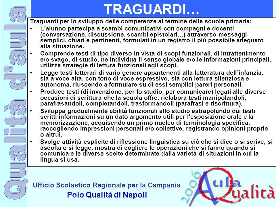 Ufficio Scolastico Regionale per la Campania Polo Qualità di Napoli TRAGUARDI… Traguardi per lo sviluppo delle competenze al termine della scuola prim