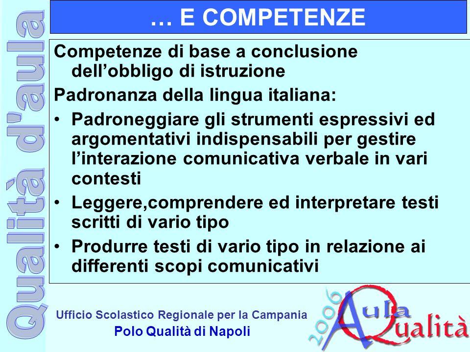 Ufficio Scolastico Regionale per la Campania Polo Qualità di Napoli … E COMPETENZE Competenze di base a conclusione dell'obbligo di istruzione Padrona