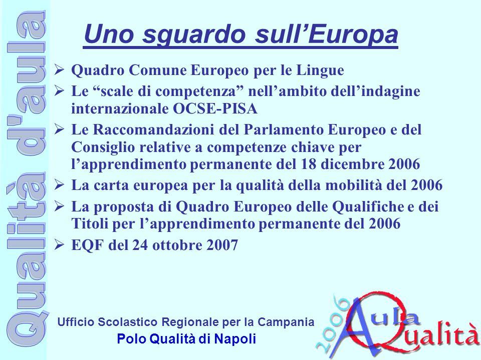 """Ufficio Scolastico Regionale per la Campania Polo Qualità di Napoli Uno sguardo sull'Europa  Quadro Comune Europeo per le Lingue  Le """"scale di compe"""