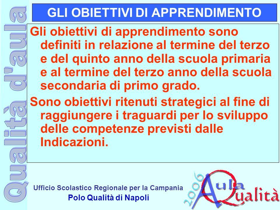 Ufficio Scolastico Regionale per la Campania Polo Qualità di Napoli GLI OBIETTIVI DI APPRENDIMENTO Gli obiettivi di apprendimento sono definiti in rel