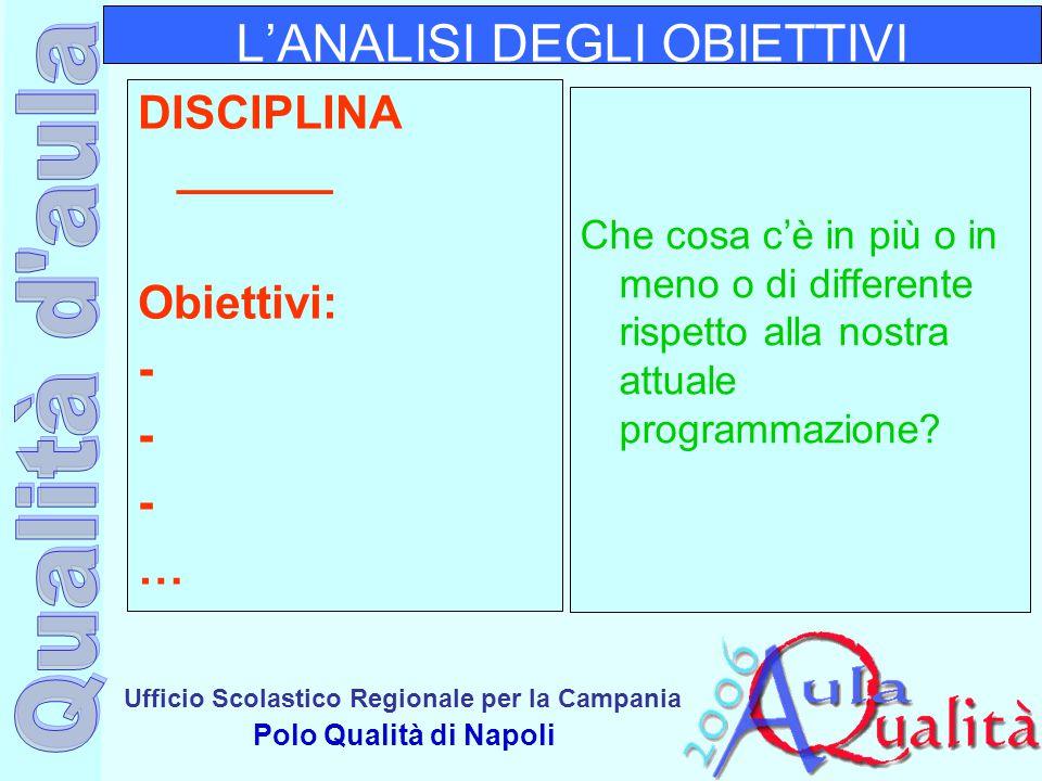 Ufficio Scolastico Regionale per la Campania Polo Qualità di Napoli L'ANALISI DEGLI OBIETTIVI DISCIPLINA ______ Obiettivi: - … Che cosa c'è in più o i