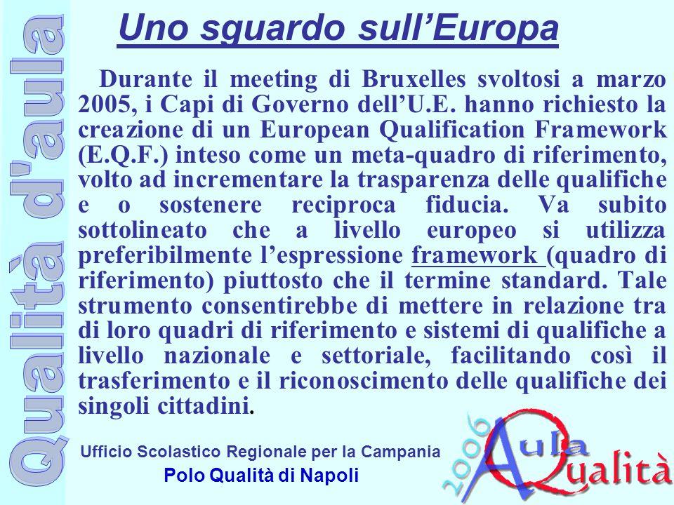 Ufficio Scolastico Regionale per la Campania Polo Qualità di Napoli Uno sguardo sull'Europa Durante il meeting di Bruxelles svoltosi a marzo 2005, i C