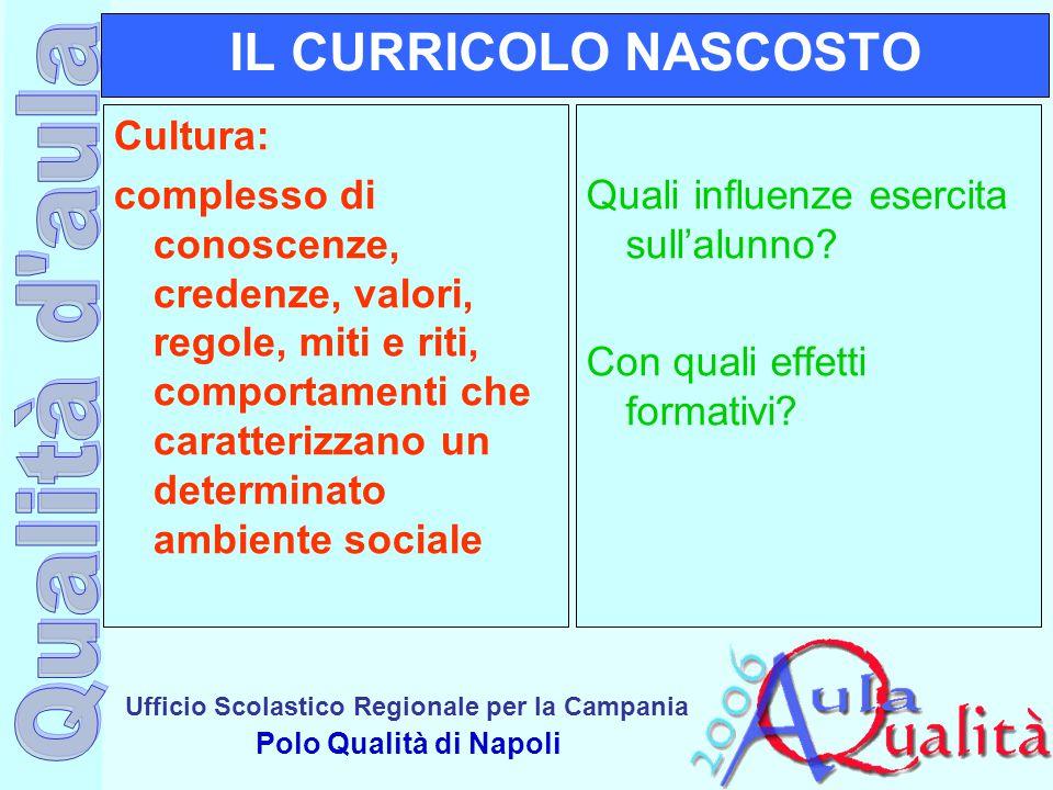 Ufficio Scolastico Regionale per la Campania Polo Qualità di Napoli IL CURRICOLO NASCOSTO Cultura: complesso di conoscenze, credenze, valori, regole,