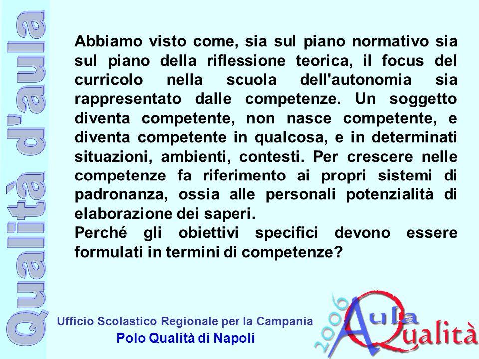 Ufficio Scolastico Regionale per la Campania Polo Qualità di Napoli Abbiamo visto come, sia sul piano normativo sia sul piano della riflessione teoric