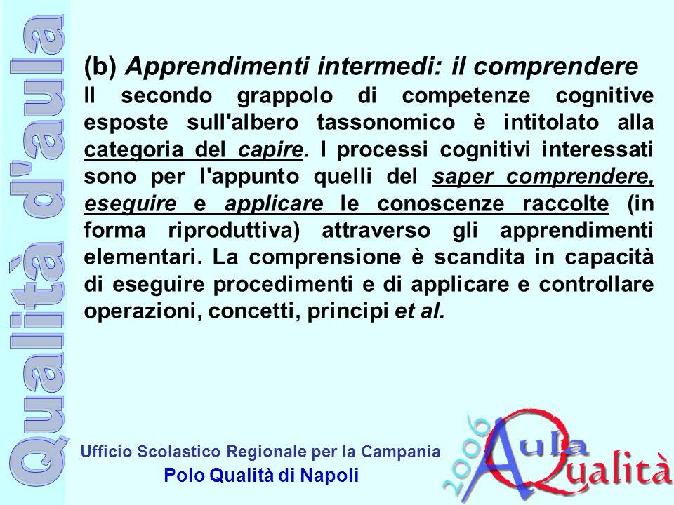Ufficio Scolastico Regionale per la Campania Polo Qualità di Napoli (b) Apprendimenti intermedi: il comprendere Il secondo grappolo di competenze cogn
