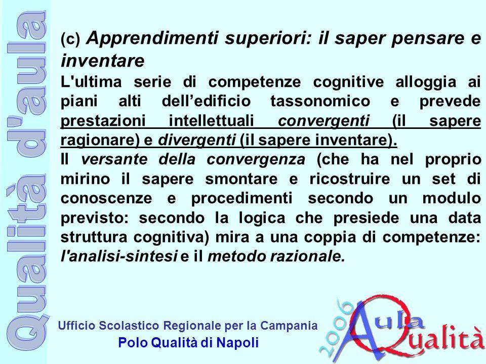 Ufficio Scolastico Regionale per la Campania Polo Qualità di Napoli (c) Apprendimenti superiori: il saper pensare e inventare L'ultima serie di compet
