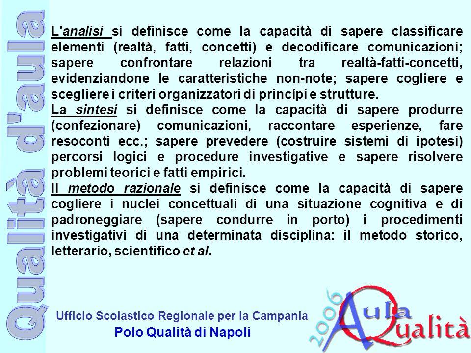 Ufficio Scolastico Regionale per la Campania Polo Qualità di Napoli L'analisi si definisce come la capacità di sapere classificare elementi (realtà, f