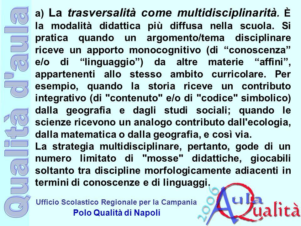 Ufficio Scolastico Regionale per la Campania Polo Qualità di Napoli a) La trasversalità come multidisciplinarità. È la modalità didattica più diffusa