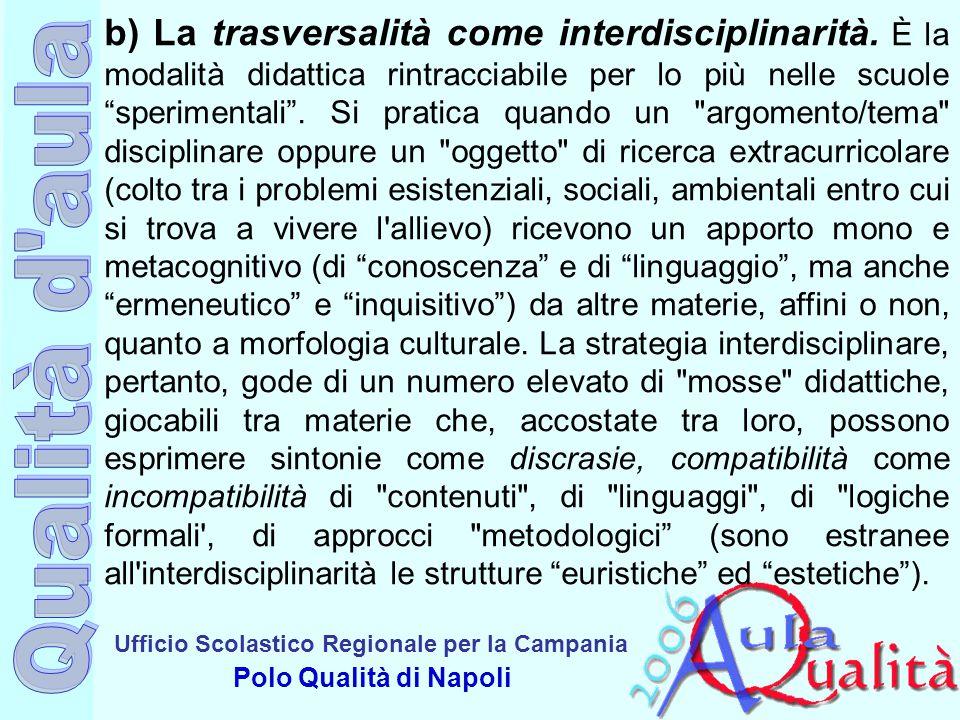 Ufficio Scolastico Regionale per la Campania Polo Qualità di Napoli b) La trasversalità come interdisciplinarità. È la modalità didattica rintracciabi