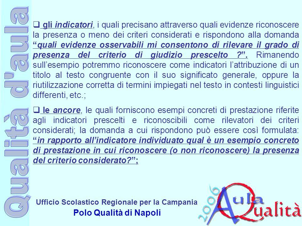 Ufficio Scolastico Regionale per la Campania Polo Qualità di Napoli  gli indicatori, i quali precisano attraverso quali evidenze riconoscere la prese