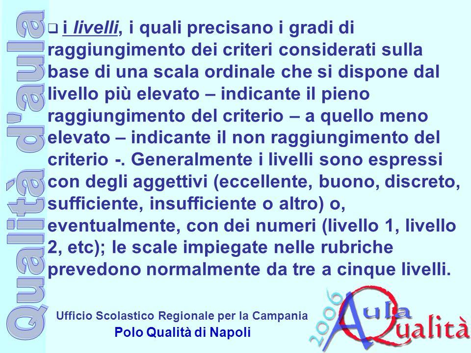 Ufficio Scolastico Regionale per la Campania Polo Qualità di Napoli  i livelli, i quali precisano i gradi di raggiungimento dei criteri considerati s