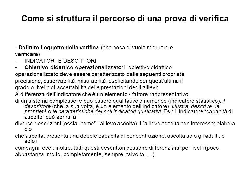 Come si struttura il percorso di una prova di verifica - Definire l'oggetto della verifica (che cosa si vuole misurare e verificare) -INDICATORI E DES