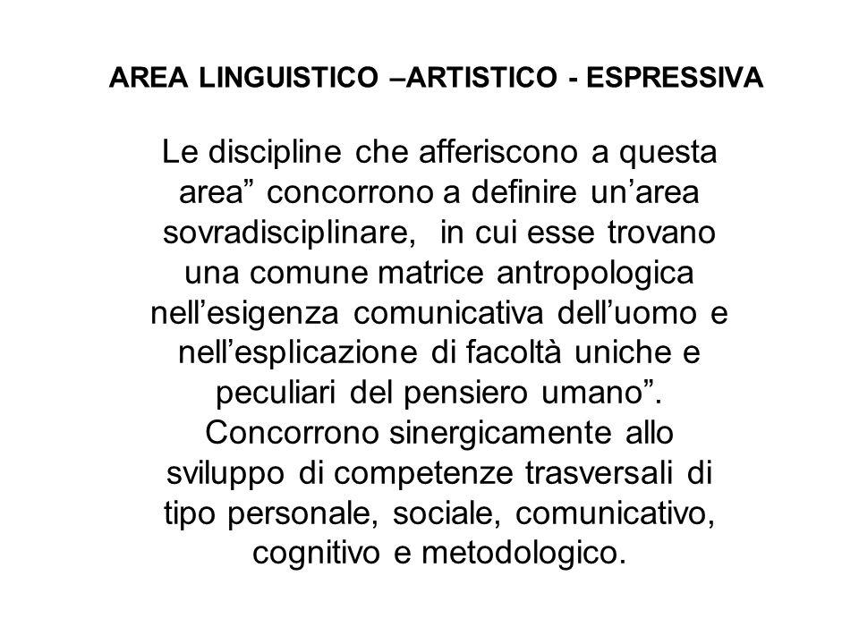 """AREA LINGUISTICO –ARTISTICO - ESPRESSIVA Le discipline che afferiscono a questa area"""" concorrono a definire un'area sovradisciplinare, in cui esse tro"""