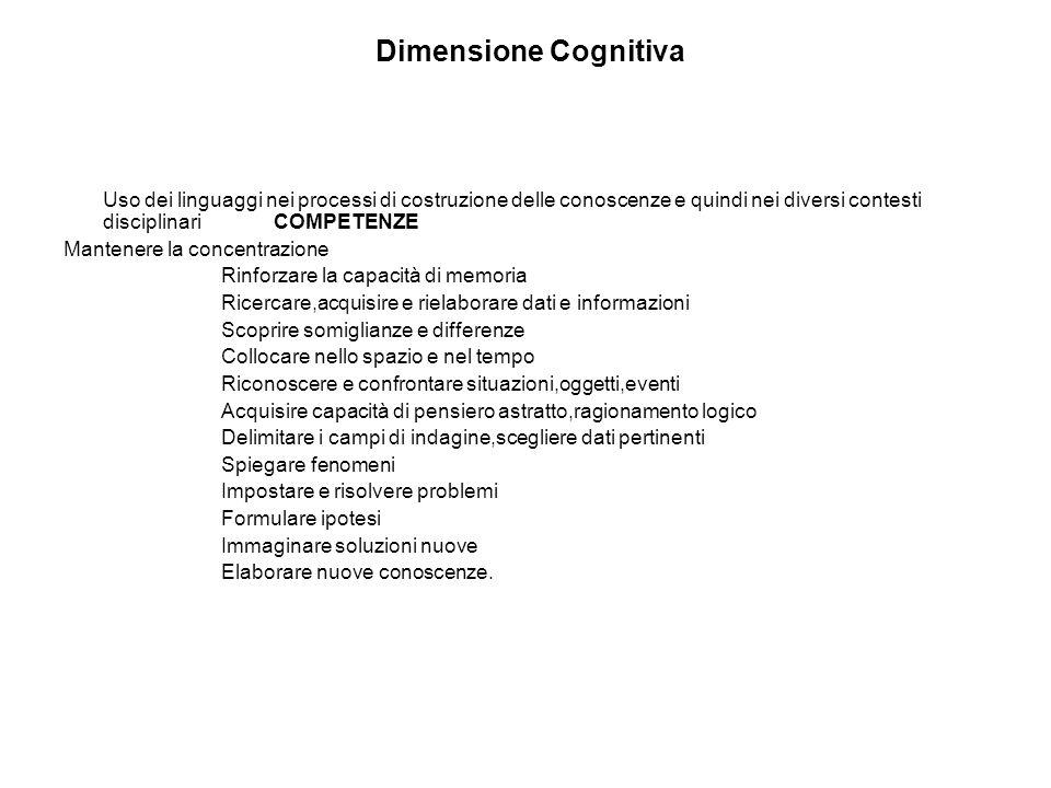 Dimensione Cognitiva Uso dei linguaggi nei processi di costruzione delle conoscenze e quindi nei diversi contesti disciplinariCOMPETENZE Mantenere la