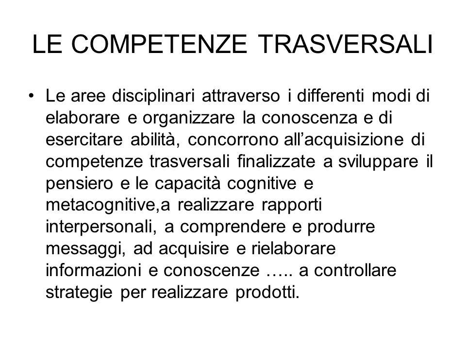 LE COMPETENZE TRASVERSALI Le aree disciplinari attraverso i differenti modi di elaborare e organizzare la conoscenza e di esercitare abilità, concorro