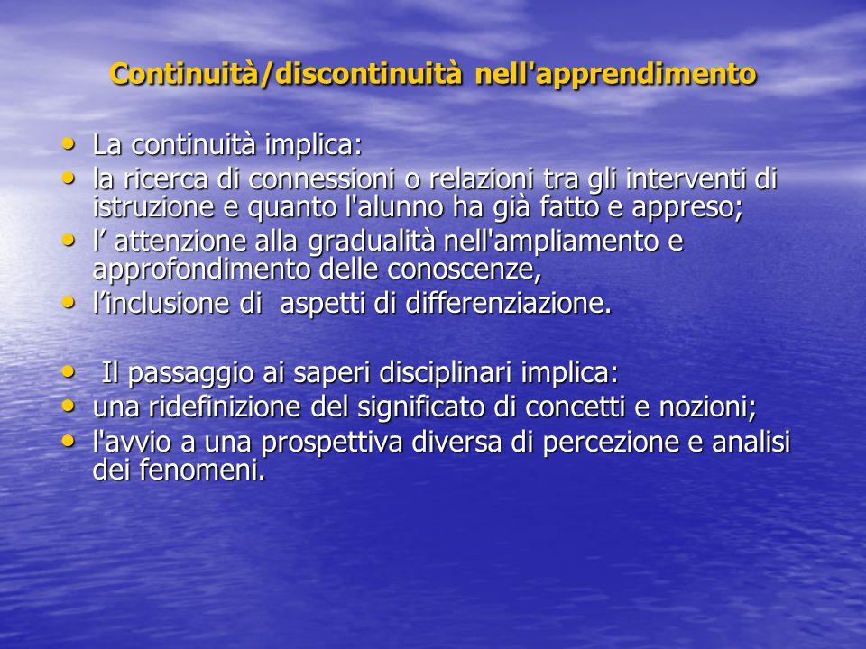 Continuità/discontinuità nell'apprendimento La continuità implica: La continuità implica: la ricerca di connessioni o relazioni tra gli interventi di