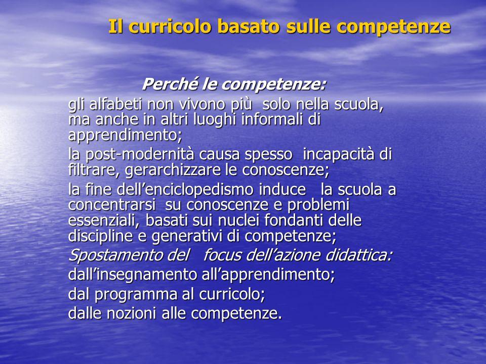 Verso il curricolo verticale Individuare alcune competenze basilari: che vuol dire allievo competente in geografia o in musica.
