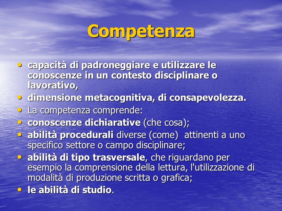 Competenza capacità di padroneggiare e utilizzare le conoscenze in un contesto disciplinare o lavorativo, capacità di padroneggiare e utilizzare le co