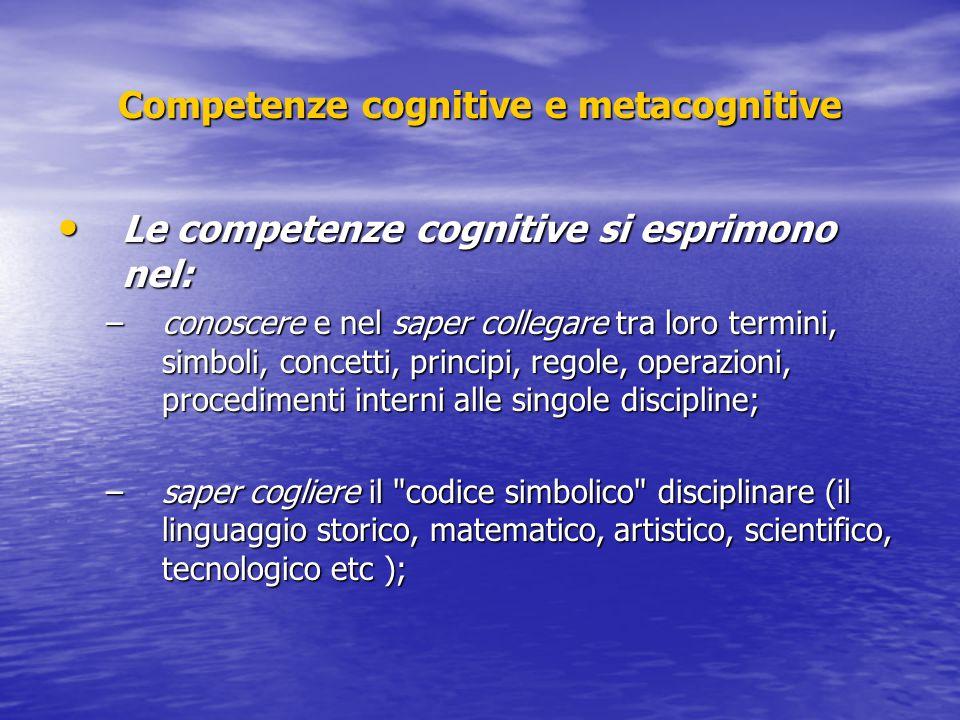 Competenze cognitive e metacognitive Le competenze cognitive si esprimono nel: Le competenze cognitive si esprimono nel: –conoscere e nel saper colleg