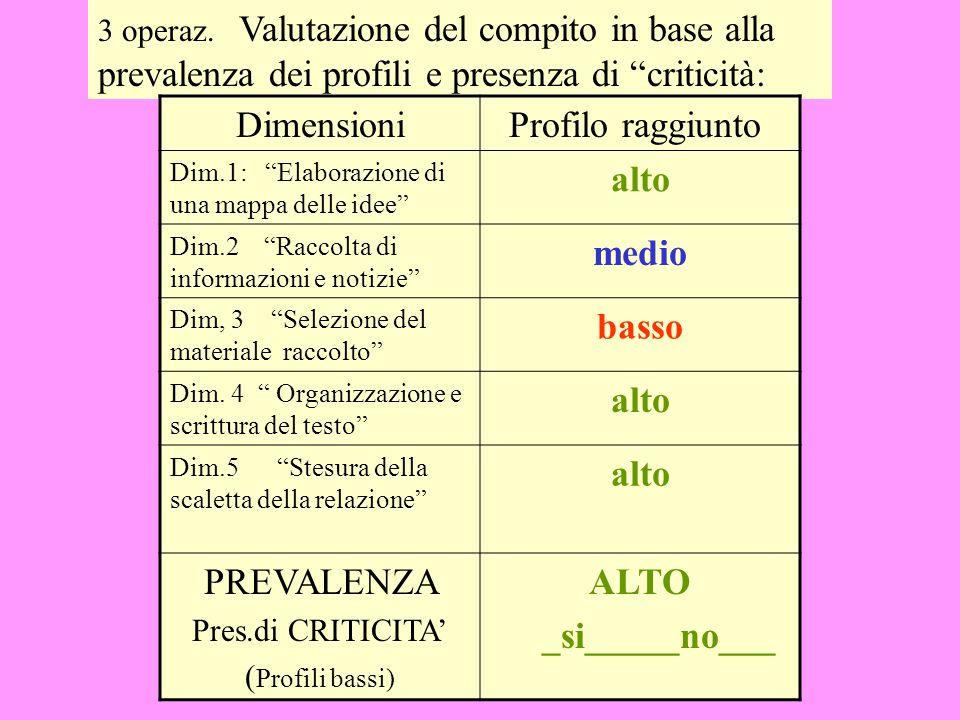 """2 operazione: Descrizione di 3 profili di qualità delle prestazioni : profilo basso, medio e alto Es.: Dimens. 1: Elaborazione di una """"mappa delle ide"""