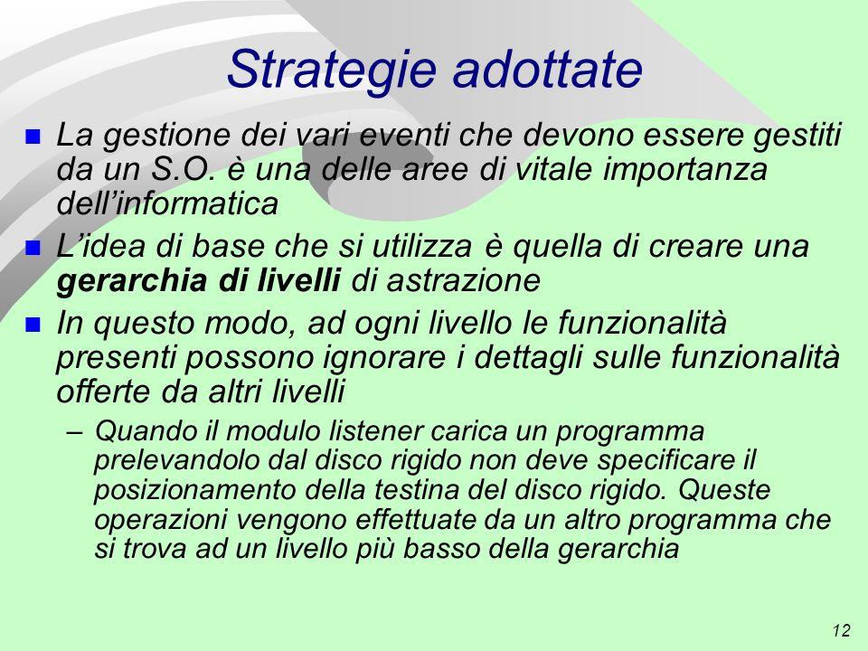 12 Strategie adottate n La gestione dei vari eventi che devono essere gestiti da un S.O.