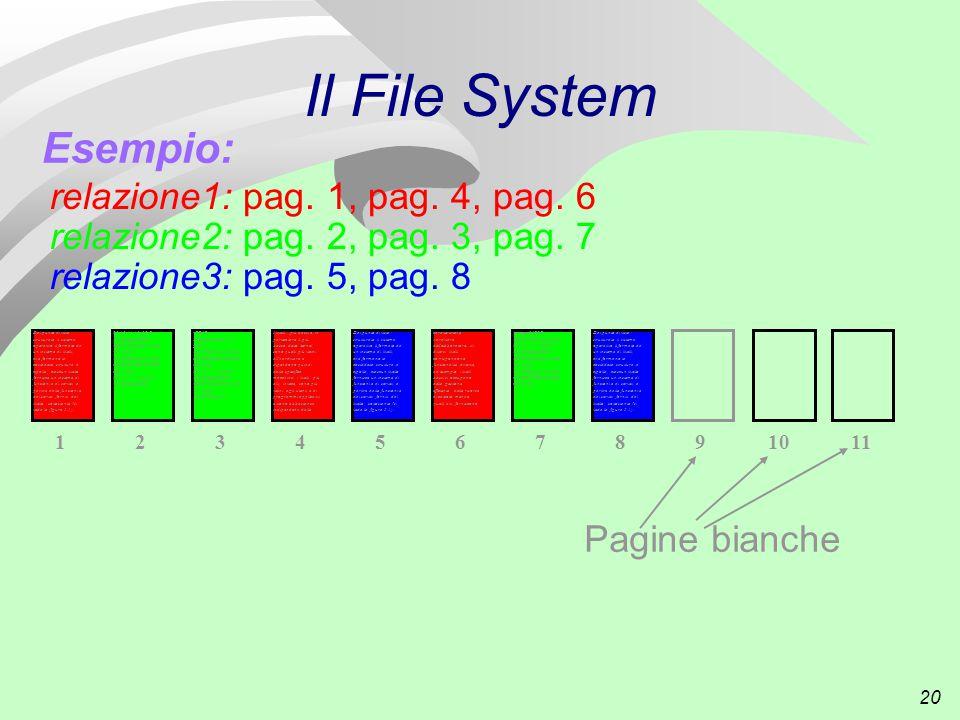 20 Il File System Esempio: I livelli più bassi e, in particolare il più basso, detto kernel, sono quelli più vicini all hardware e dipendono quindi dalla specifica macchina; i livelli più alti, invece, sono più vicini agli utenti e ai programmi applicativi e sono abbastanza indipendenti dalle 4 caratteristiche hardware dell elaboratore.