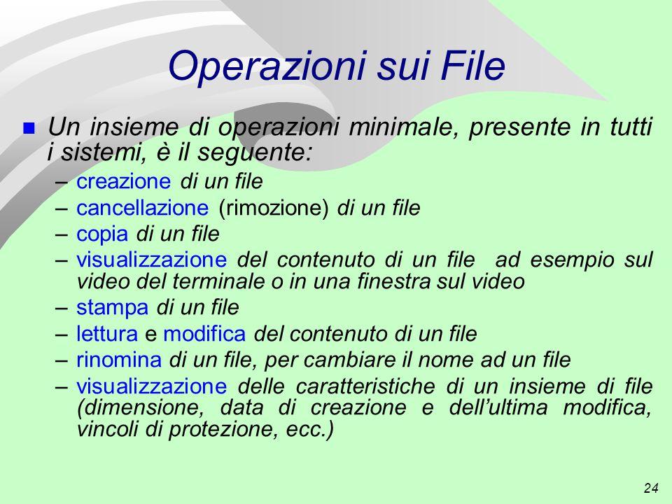 24 Operazioni sui File n Un insieme di operazioni minimale, presente in tutti i sistemi, è il seguente: –creazione di un file –cancellazione (rimozione) di un file –copia di un file –visualizzazione del contenuto di un file ad esempio sul video del terminale o in una finestra sul video –stampa di un file –lettura e modifica del contenuto di un file –rinomina di un file, per cambiare il nome ad un file –visualizzazione delle caratteristiche di un insieme di file (dimensione, data di creazione e dell'ultima modifica, vincoli di protezione, ecc.)