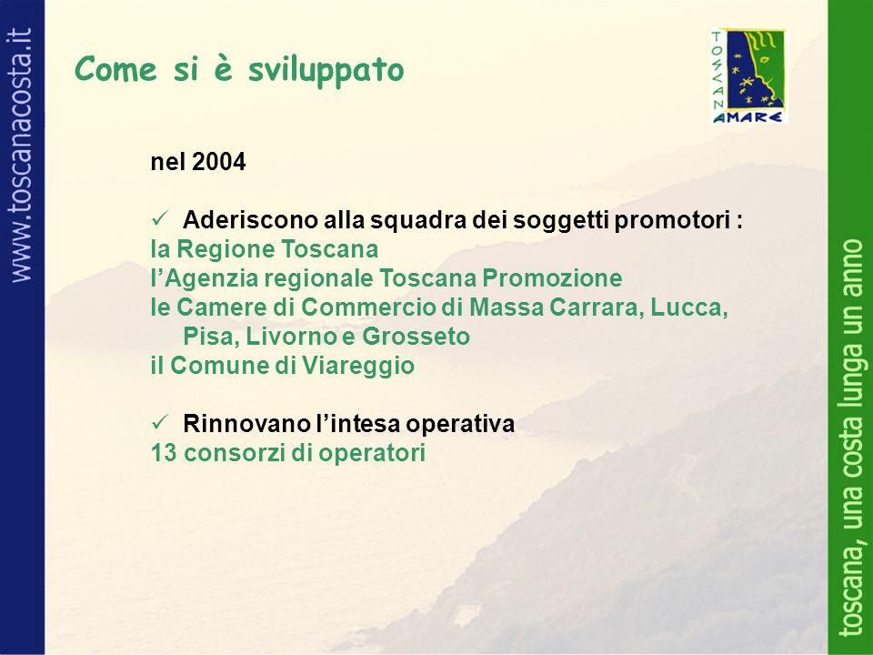 Come si è sviluppato nel 2004 Aderiscono alla squadra dei soggetti promotori : la Regione Toscana l'Agenzia regionale Toscana Promozione le Camere di Commercio di Massa Carrara, Lucca, Pisa, Livorno e Grosseto il Comune di Viareggio Rinnovano l'intesa operativa 13 consorzi di operatori