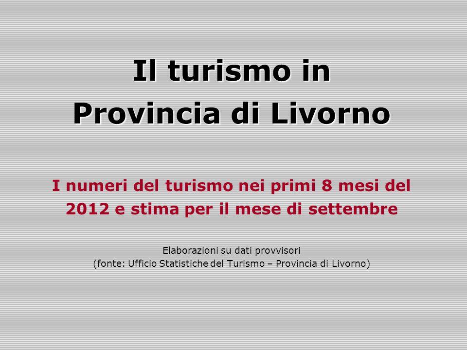 Il turismo in Provincia di Livorno I numeri del turismo nei primi 8 mesi del 2012 e stima per il mese di settembre Elaborazioni su dati provvisori (fonte: Ufficio Statistiche del Turismo – Provincia di Livorno)