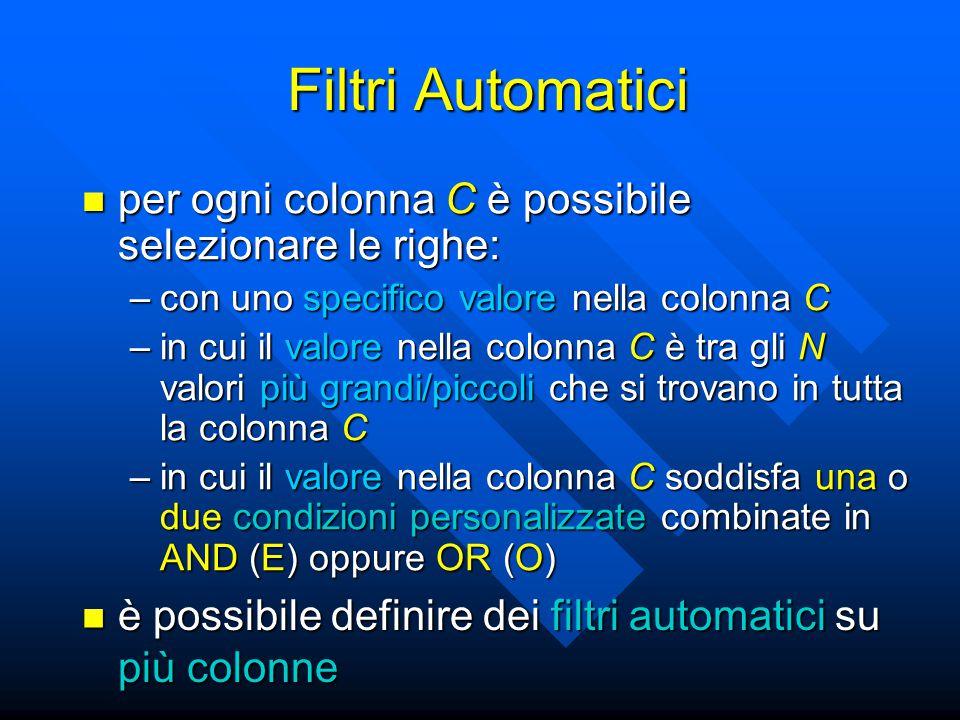 Filtri Automatici per ogni colonna C è possibile selezionare le righe: per ogni colonna C è possibile selezionare le righe: –con uno specifico valore nella colonna C –in cui il valore nella colonna C è tra gli N valori più grandi/piccoli che si trovano in tutta la colonna C –in cui il valore nella colonna C soddisfa una o due condizioni personalizzate combinate in AND (E) oppure OR (O) è possibile definire dei filtri automatici su più colonne è possibile definire dei filtri automatici su più colonne