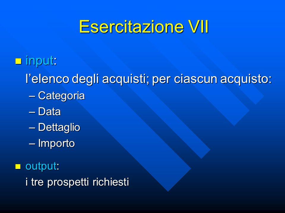 Esercitazione VII input: input: l'elenco degli acquisti; per ciascun acquisto: –Categoria –Data –Dettaglio –Importo output: output: i tre prospetti richiesti