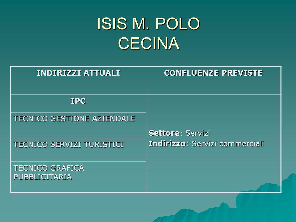 ISIS M. POLO CECINA INDIRIZZI ATTUALI CONFLUENZE PREVISTE IPC Settore: Servizi Indirizzo: Servizi commerciali TECNICO GESTIONE AZIENDALE TECNICO SERVI