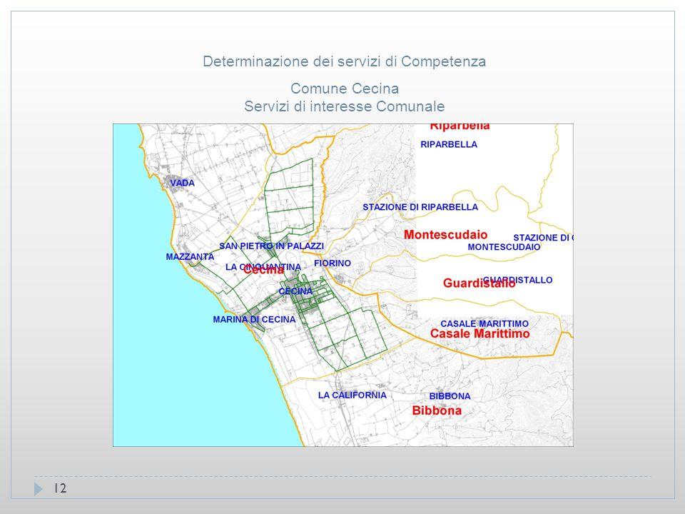 12 Comune Cecina Servizi di interesse Comunale Determinazione dei servizi di Competenza