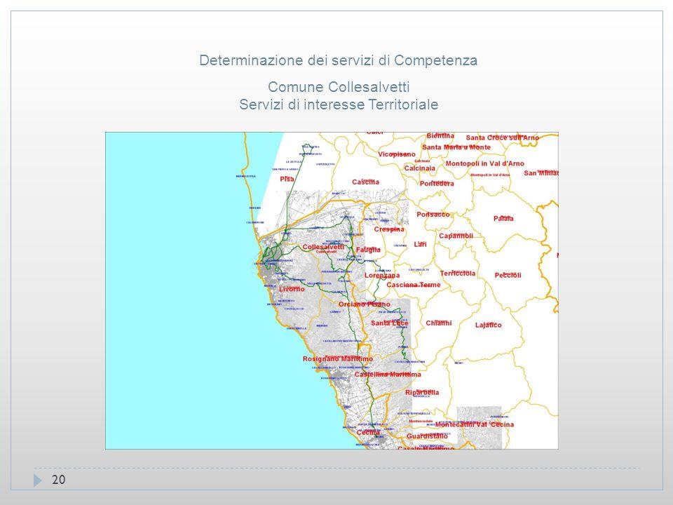 20 Comune Collesalvetti Servizi di interesse Territoriale Determinazione dei servizi di Competenza