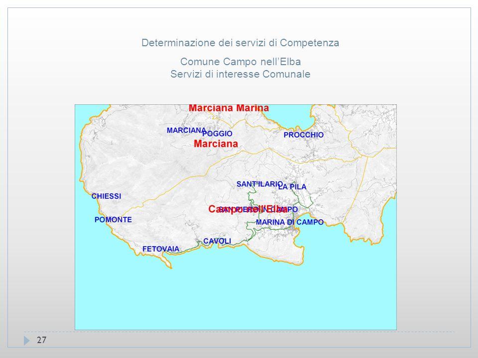 27 Comune Campo nell'Elba Servizi di interesse Comunale Determinazione dei servizi di Competenza